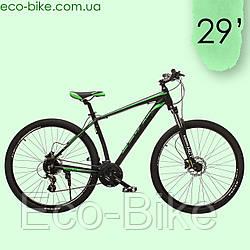 """Велосипед горный Oskar 29"""" JURA Алюминий Черно-зеленый с амортизацией Велосипед гірський MTB зелений"""