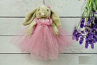 Брелок пушистый Кролик в пышном платье бежевый, 26 см