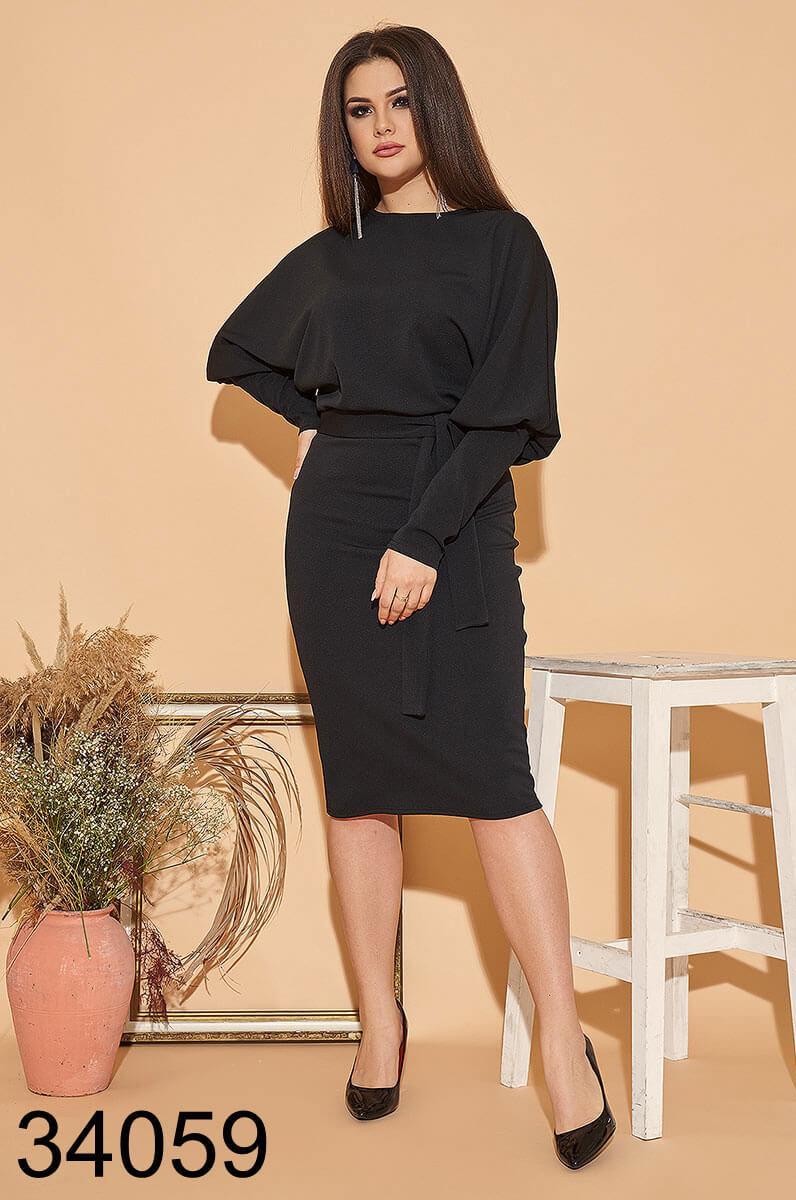 Женское черное платье миди р.48,50,52,54