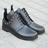 Туфлі дитячі для дівчаток низький хід на шнурках шкіра чорний KARMEN, фото 2