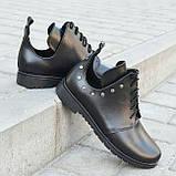 Туфлі дитячі для дівчаток низький хід на шнурках шкіра чорний KARMEN, фото 3