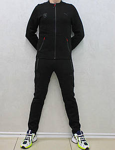 Мужской прямой черный хлопковый костюм Puma воротник стойка (Реплика)