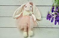 Брелок пушистый Кролик с короной персиковый, 30 см