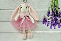 Брелок пушистый Кролик с бантом розовый, 30 см