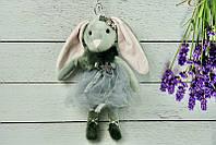 Брелок пушистый Кролик со звездой серый, 30 см