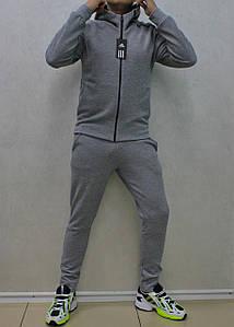 Мужской прямой серый хлопковый костюм Adidas ZNE с капюшоном  (Реплика)