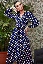 Расклешенное женское платье в горошек с запахом и воланом (4005-4001-4003-3999 svt), фото 2
