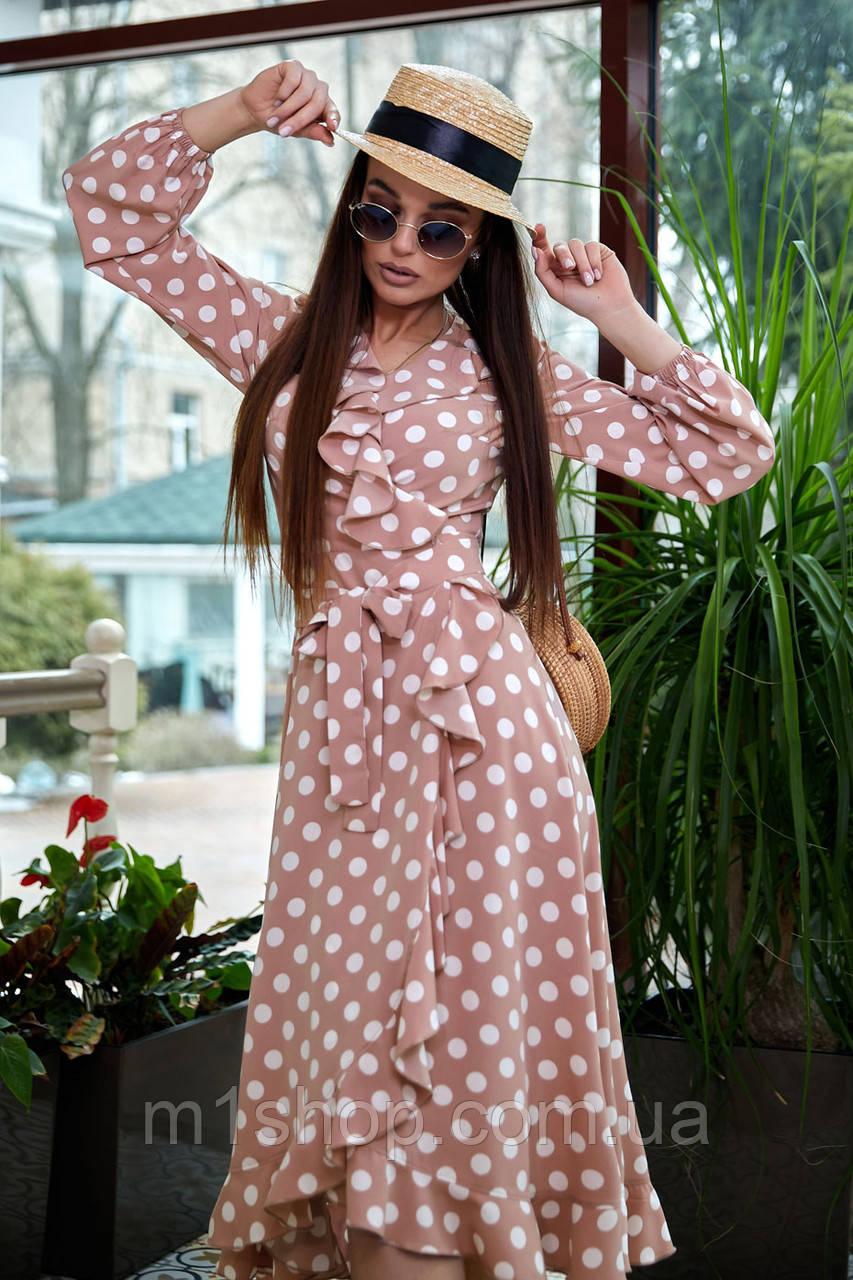 Расклешенное женское платье в горошек с запахом и воланом (4005-4001-4003-3999 svt)