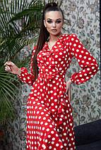 Расклешенное женское платье в горошек с запахом и воланом (4005-4001-4003-3999 svt), фото 3