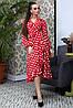 Расклешенное женское платье в горошек с запахом и воланом (4005-4001-4003-3999 svt), фото 4