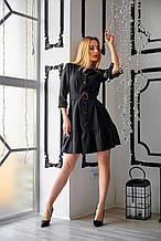 Элегантное мини-платье цвет черный с поясом