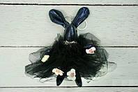 Брелок Кролик в пушистом платье черный, 18 см