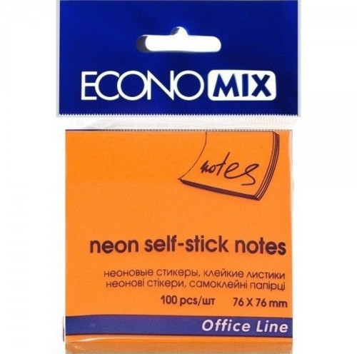 Блок для заметок с клейким слоем 75х75 мм Economix, 100 л., Неон оранжевый