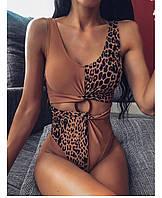 Красивый утонченный бежевый коричневый леопардовый слитный купальник с чашками с завышеной талией S, М, L