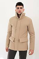 Куртка мужская демисезонная без капюшона бежевая DarkSide. Живое фото (весенняя куртка)