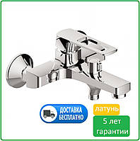 Смеситель для ванны латунный однорычажный с керамическим переключателем, с литым коротким изливом носом HB Eni