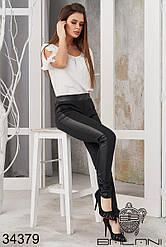 Облегающие чёрные леггинсы с кожаными вставками (размеры 42, 44, 46, 48)