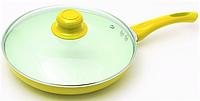 Сковорода антипригарная с крышкой Maestro MR-1201-28 желтая | сковородка Маэстро, сотейник Маестро