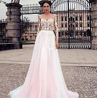 Свадебное платье с рукавом кружево пудра