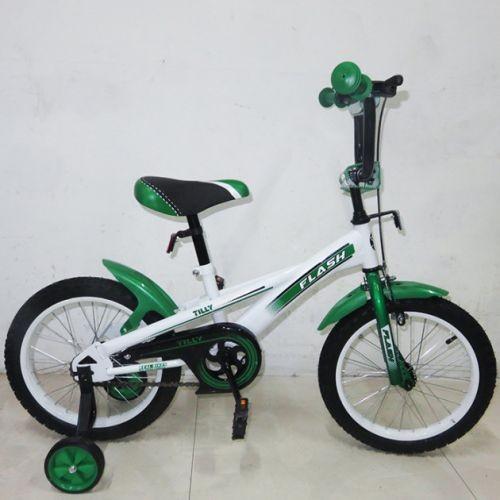 """Велосипед Двухколесный Flash 16""""  T-21645 С Дополнительными Колесами Зелено-Белый"""