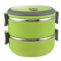 Двухъярусный ланч-бокс Benson BN-041 (1400 мл) зеленый | двойной контейнер для еды Бенсон | ланчбокс Бэнсон