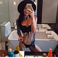 Красивый стильный черный купальник со съёмными чашками на завязках S, М, L