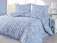 Евро размер. Голубой комплект постельного белья с цветами. Фирменный магазин Marie Claire