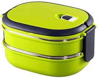 Двухъярусный ланч-бокс Benson BN-043 (1800 мл) салатовый | двойной контейнер для еды Бенсон | ланчбокс Бэнсон