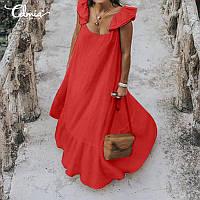 Сукня льняна впол з воланами і воланом. Кольори в асортименті, ярикие і пастельні