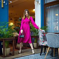Яркое женское платье длина миди с отрезной талией
