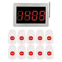 Система вызова медперсонала беспроводная RETEKESS F3290kit2, LED приёмник - табло + 10 пультов SOS кнопок