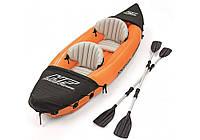 Двухместная надувная байдарка (каяк) Bestway 65077 Lite-Rapid X2 Kayak, 321 см x 88 см, с веслами, синяя