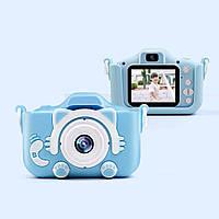 Детский цифровой фотоаппарат 2 камеры Children's fun Camera 20MP Full HD 5472*4104P Котик(Розовый)