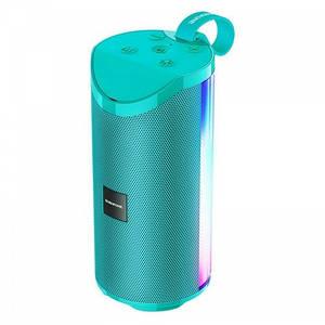 Портативная Беспроводная Bluetooth Колонка Borofone Br5 С Цветной Подсветкой Бирюзовая (М1)