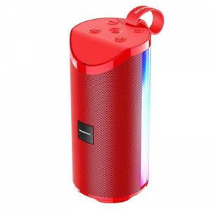 Портативная Беспроводная Bluetooth Колонка Borofone Br5 С Цветной Подсветкой Красная (М1)