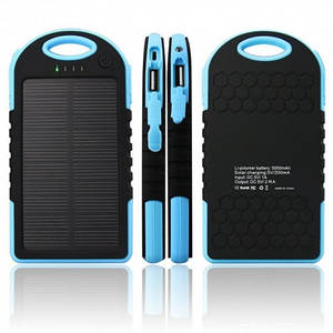 Портативный Аккумулятор Powerbank Умб На Солнечных Батареях Solar 20000 Mah Синий (D2)