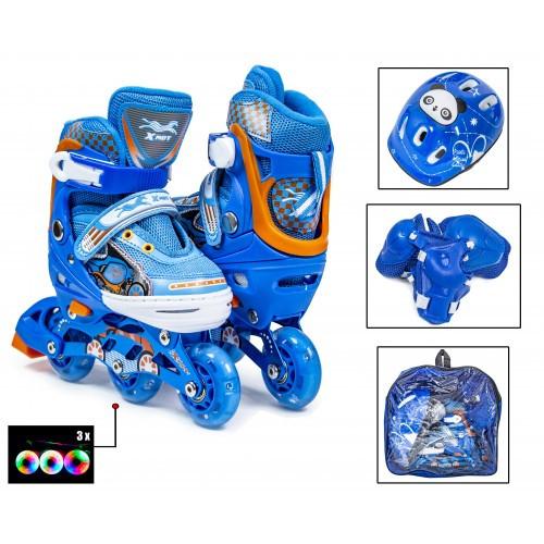 Роликовые Коньки Детские 3-Whells Раздвижные 27-30 С Защитой Синие Светящиеся Колеса (Sd)