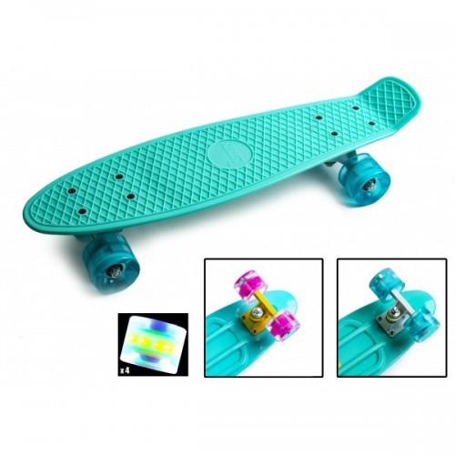 Скейтборд, Пенни Борд Penny Board Бирюзовый Светящиеся Колеса (Sd)
