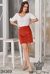 Вельветовая рыжая короткая юбка