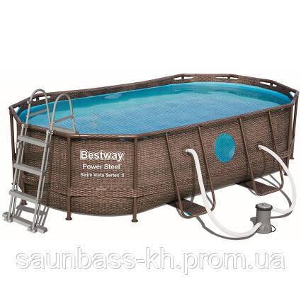 Bestway Надувний басейн Bestway Ротанг 56714 (427х250х100) з картриджних фільтрів