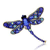 Брошь стрекоза синяя 7.5*9.1см Сапфир, фото 1