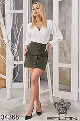 Вельветовая юбка мини хаки на пуговицах