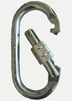 Карабин овальный стальной с резьбовой муфтой 25kN/S-507/ разрывная нагрузка 25kN/9kN/ Раскрытие 17мм