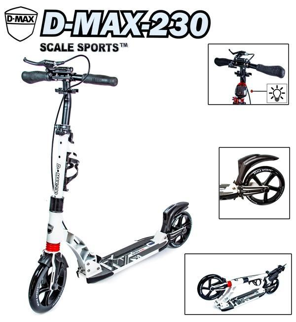 Двухколесный самокат Scale Sports. D-Max -230. White. Ручной тормоз!
