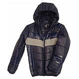 Демісезонна коротка курточка на хлопчика підлітка, колір синій, р-ри 140-170, мод.Даріо, фото 4