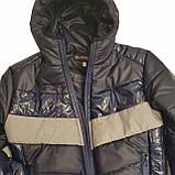 Демісезонна коротка курточка на хлопчика підлітка, колір синій, р-ри 140-170, мод.Даріо, фото 9
