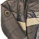Демісезонна коротка курточка на хлопчика підлітка, колір синій, р-ри 140-170, мод.Даріо, фото 10