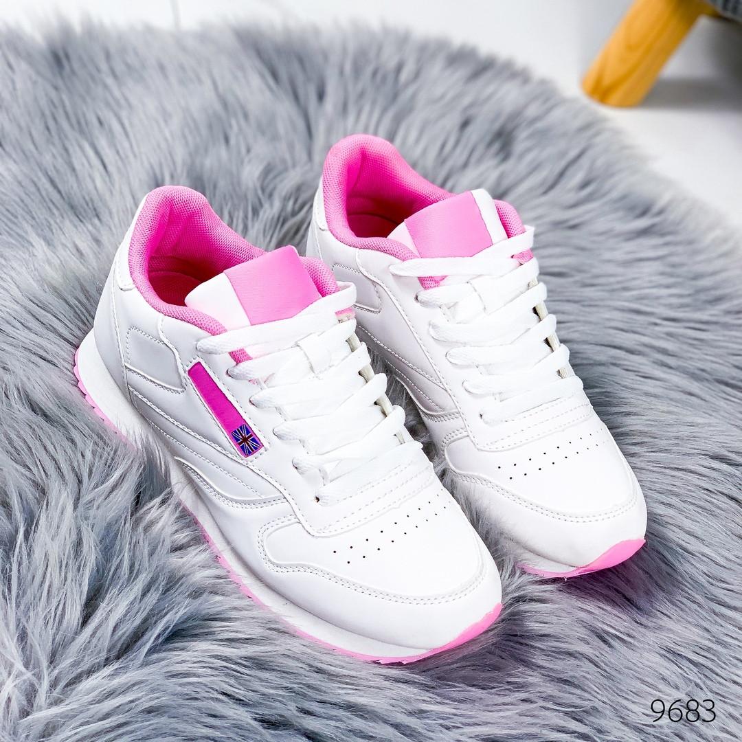 Кроссовки легкие женские в стиле Reebok Classic рибок классик  белый  с розовым