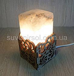 Соляной светильник  Прямоугольник в дереве Вьюнок