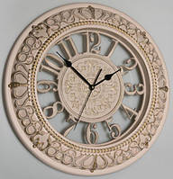 Настенные часы, бежевые с патиной (40 см.)